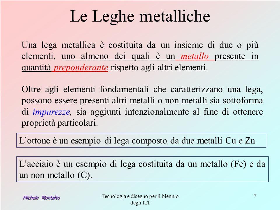 Michele Montalto Tecnologia e disegno per il biennio degli ITI 7 Lacciaio è un esempio di lega costituita da un metallo (Fe) e da un non metallo (C).