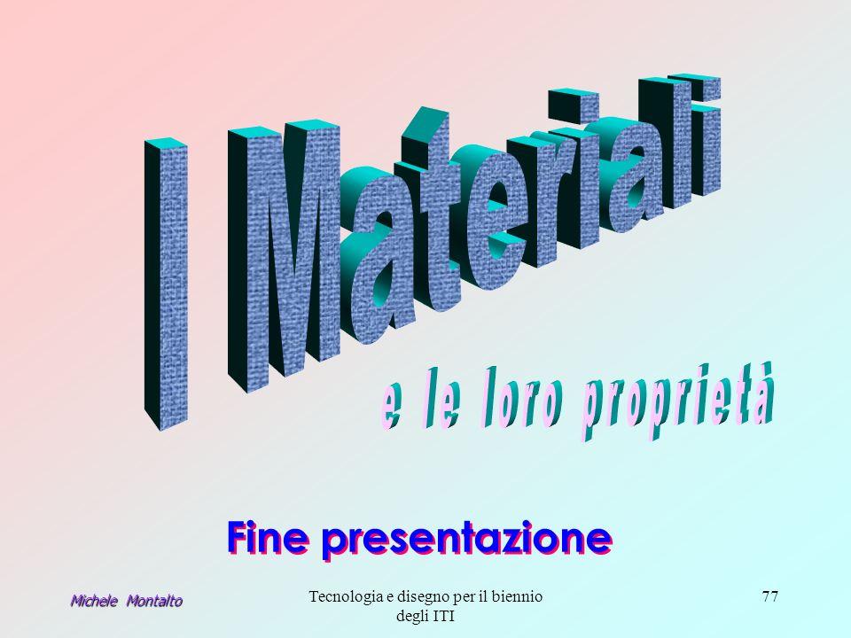 Michele Montalto Tecnologia e disegno per il biennio degli ITI 77 Fine presentazione Fine presentazione