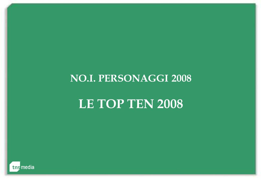 media NO.I. PERSONAGGI 2008 LE TOP TEN 2008