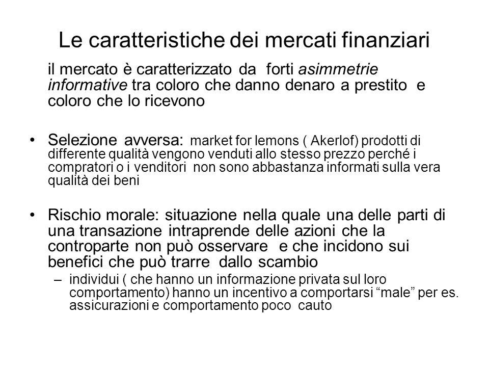 Le funzioni dei mercati e degli intermediari finanziari Mettere in contatto i risparmiatori con gli investitori –Creditori ( famiglie) –Debitori ( le imprese lo Stato) Produrre informazioni sullaffidabilità dei debitori Facilitare la negoziazione dei titoli.