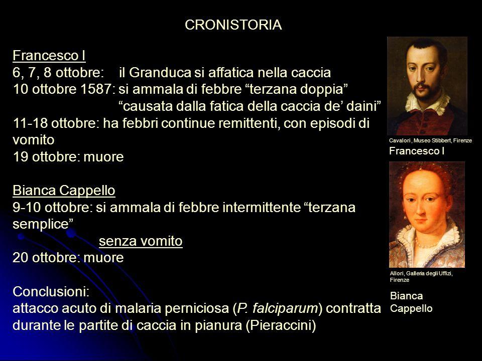 Francesco I 6, 7, 8 ottobre: il Granduca si affatica nella caccia 10 ottobre 1587: si ammala di febbre terzana doppia causata dalla fatica della cacci