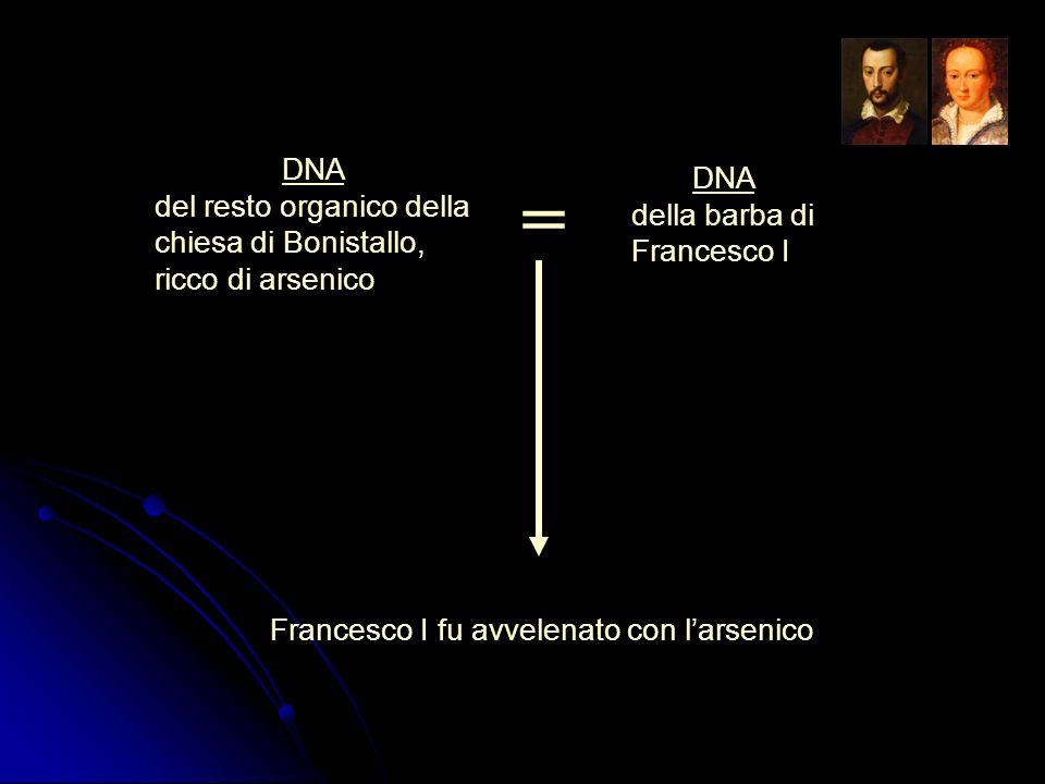 DNA della barba di Francesco I DNA del resto organico della chiesa di Bonistallo, ricco di arsenico = Francesco I fu avvelenato con larsenico