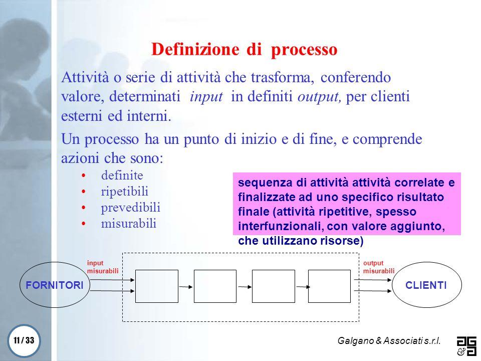 11 / 33 Galgano & Associati s.r.l. Attività o serie di attività che trasforma, conferendo valore, determinati input in definiti output, per clienti es