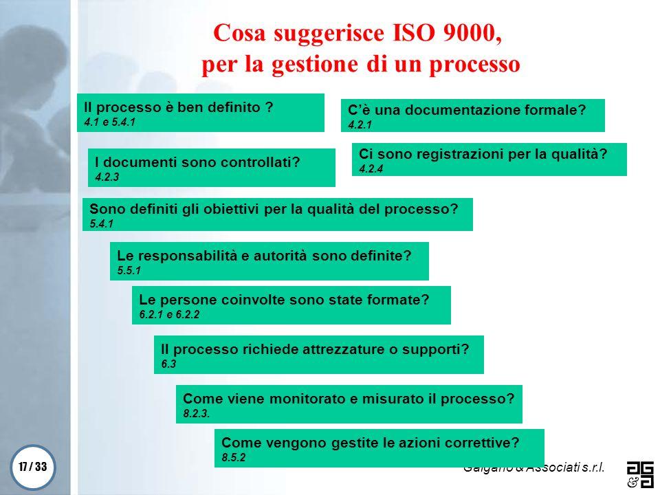 17 / 33 Galgano & Associati s.r.l. Cosa suggerisce ISO 9000, per la gestione di un processo Il processo è ben definito ? 4.1 e 5.4.1 Cè una documentaz
