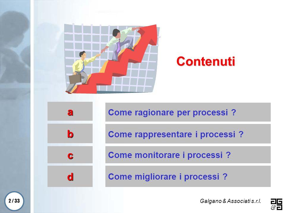 2 / 33 Galgano & Associati s.r.l. Come ragionare per processi ? Come rappresentare i processi ? Come monitorare i processi ? Come migliorare i process