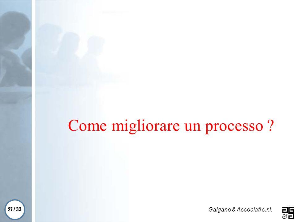 27 / 33 Galgano & Associati s.r.l. Come migliorare un processo ?