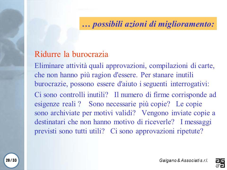 28 / 33 Galgano & Associati s.r.l. Ridurre la burocrazia Eliminare attività quali approvazioni, compilazioni di carte, che non hanno più ragion d'esse