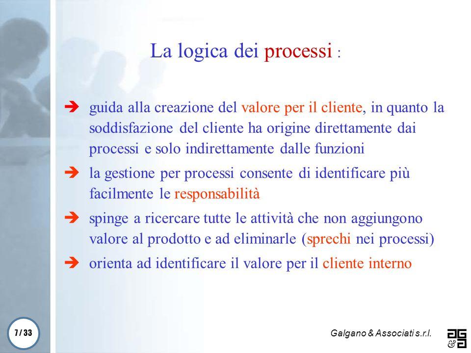 7 / 33 Galgano & Associati s.r.l. guida alla creazione del valore per il cliente, in quanto la soddisfazione del cliente ha origine direttamente dai p