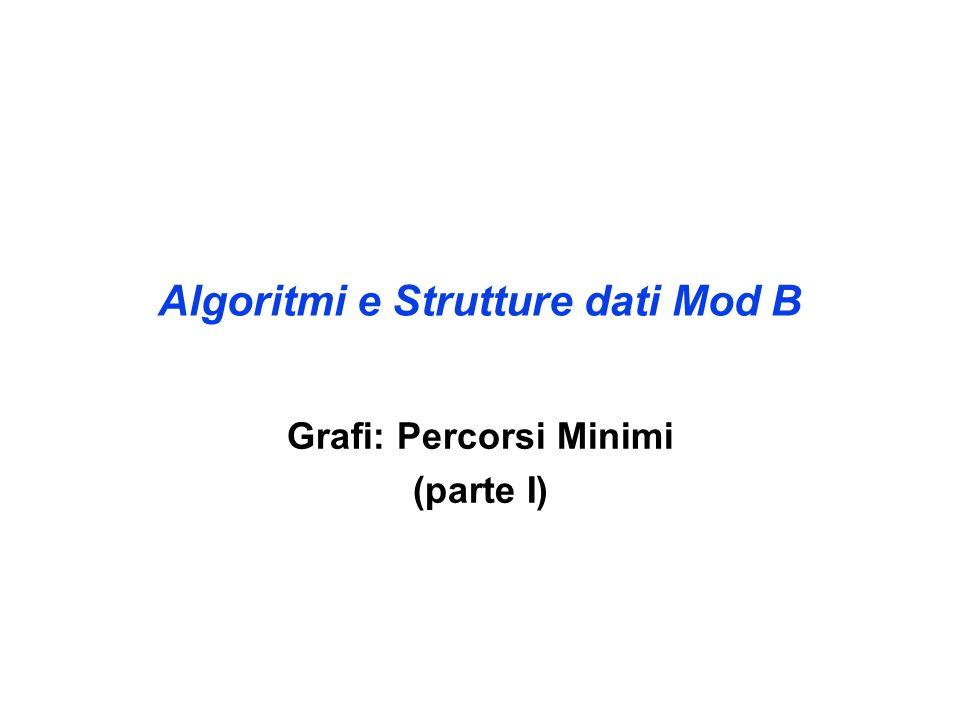 Algoritmi e Strutture dati Mod B Grafi: Percorsi Minimi (parte I)