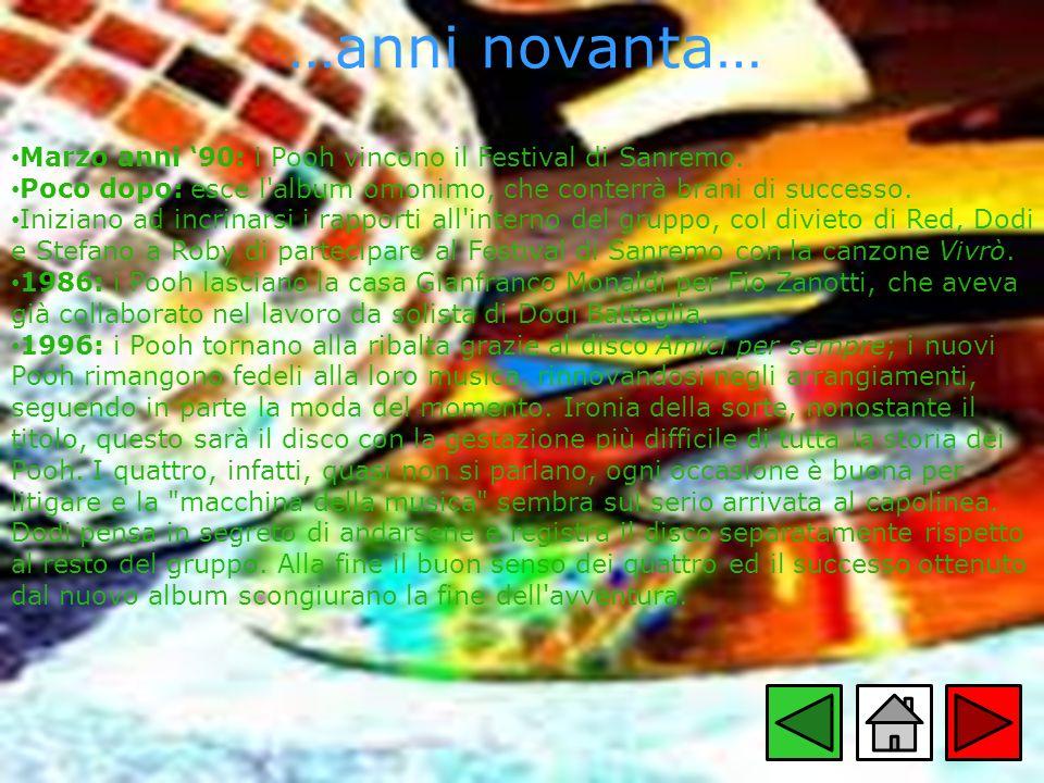 …anni novanta… Marzo anni 90: i Pooh vincono il Festival di Sanremo. Poco dopo: esce l'album omonimo, che conterrà brani di successo. Iniziano ad incr