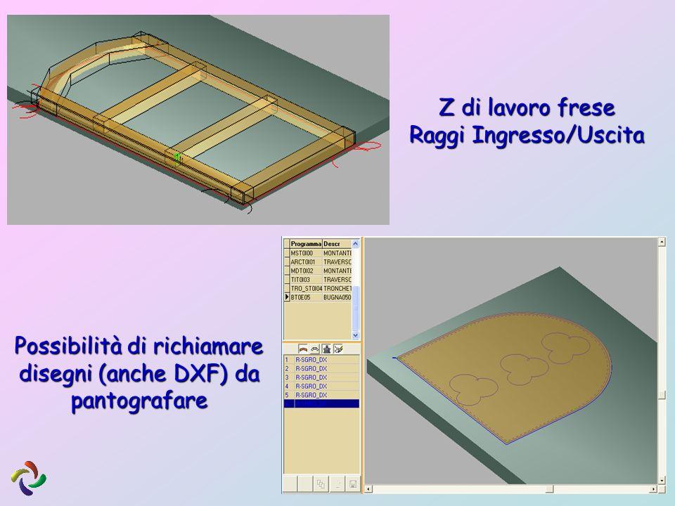 Z di lavoro frese Raggi Ingresso/Uscita Possibilità di richiamare disegni (anche DXF) da pantografare
