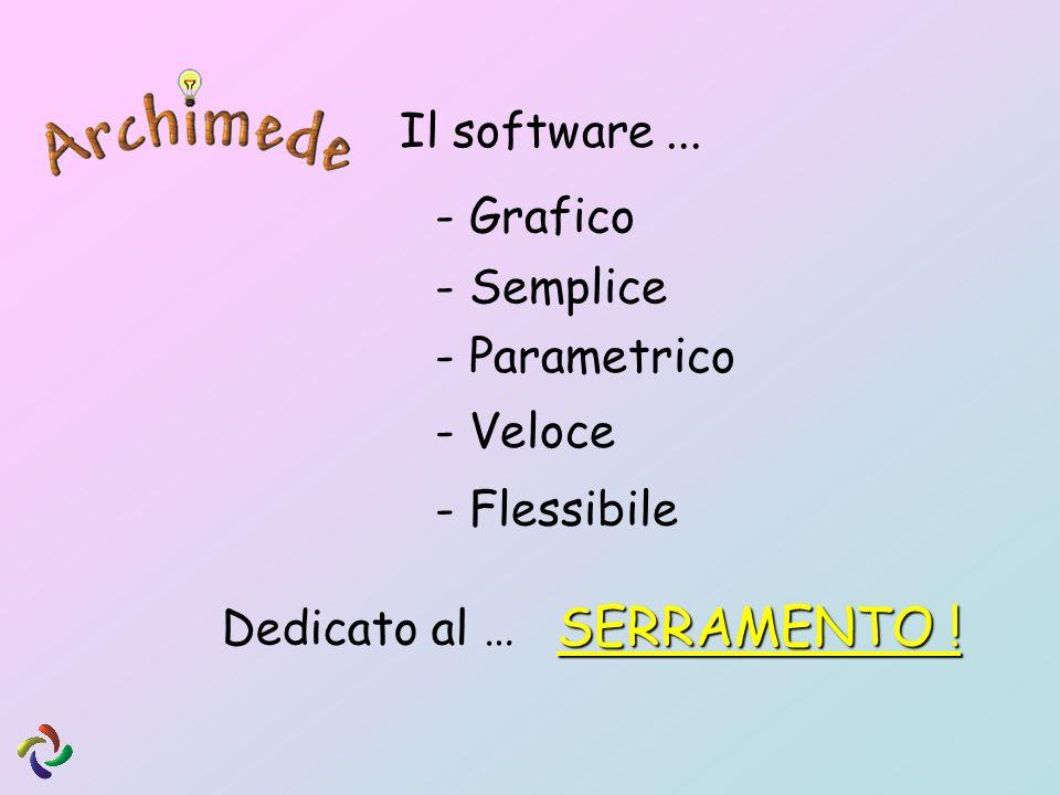 Il software... - Grafico - Semplice - Veloce - Parametrico - Flessibile Dedicato al … SERRAMENTO !