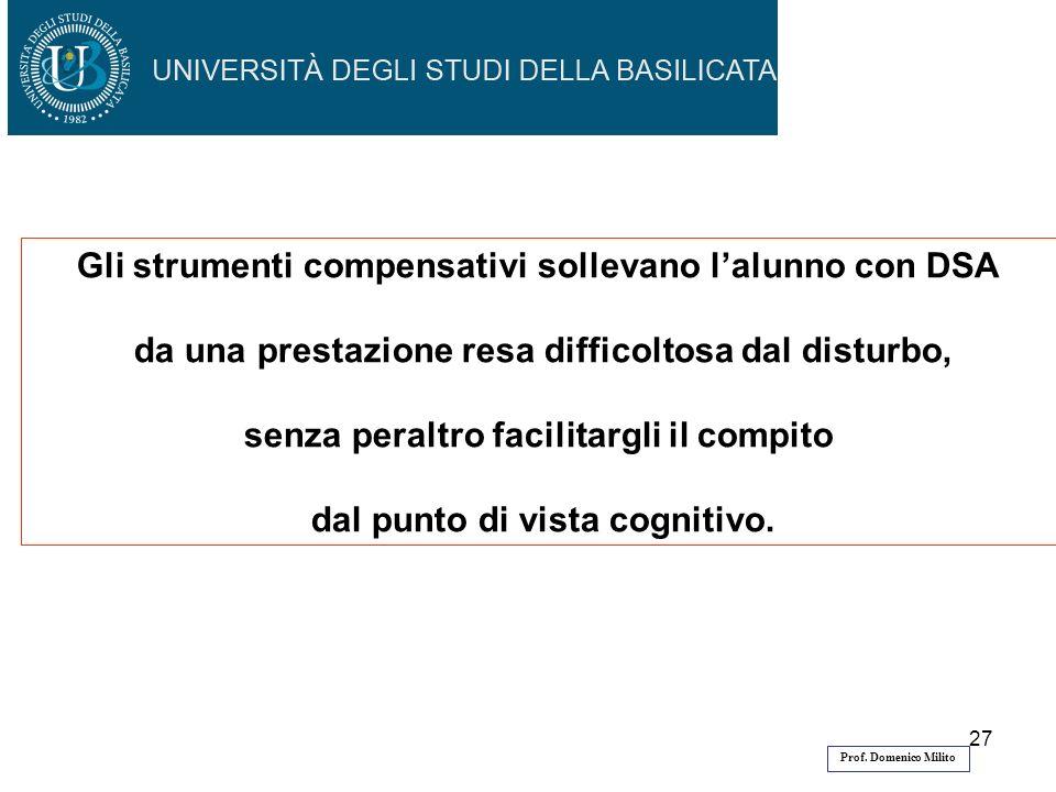 27 Gli strumenti compensativi sollevano lalunno con DSA da una prestazione resa difficoltosa dal disturbo, senza peraltro facilitargli il compito dal punto di vista cognitivo.