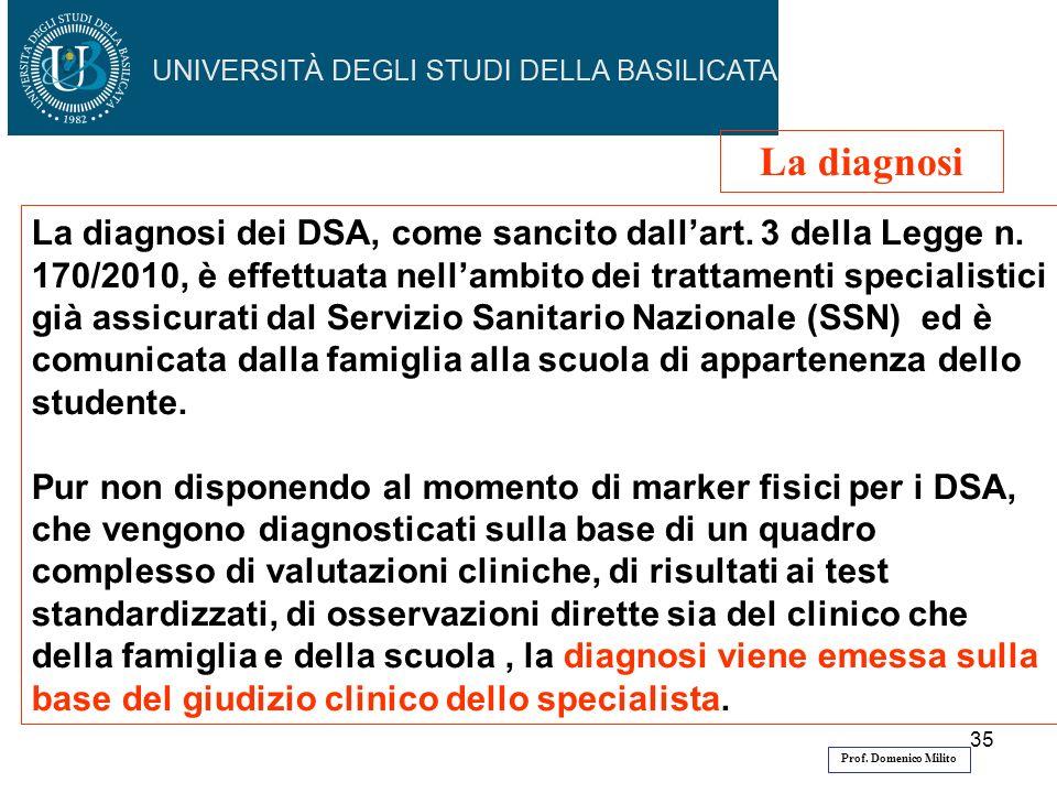 35 La diagnosi dei DSA, come sancito dallart.3 della Legge n.