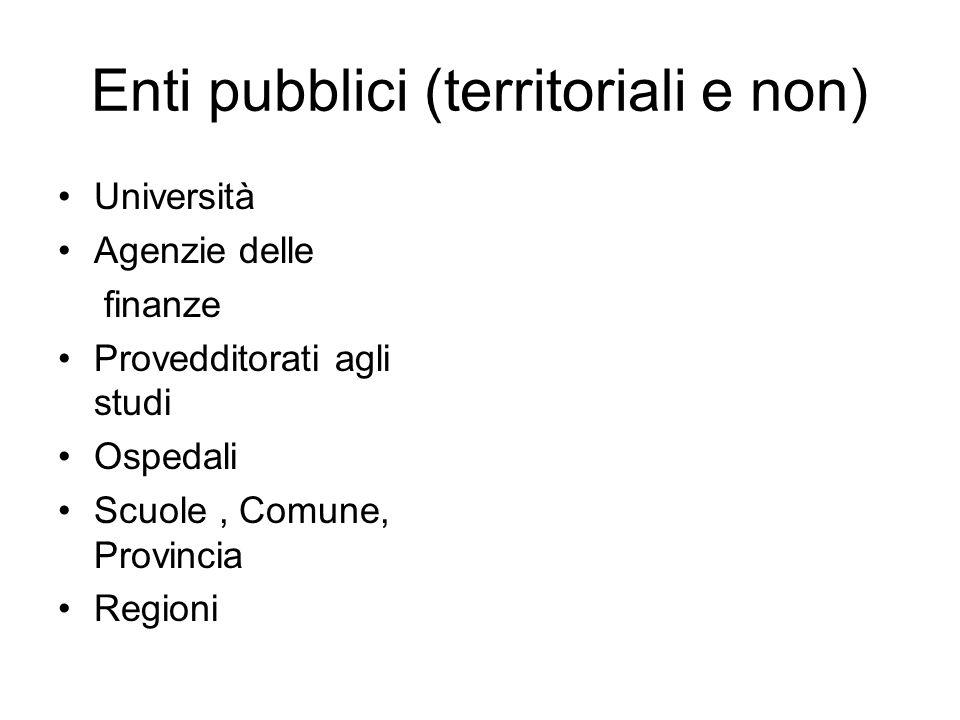 Enti pubblici (territoriali e non) Università Agenzie delle finanze Provedditorati agli studi Ospedali Scuole, Comune, Provincia Regioni