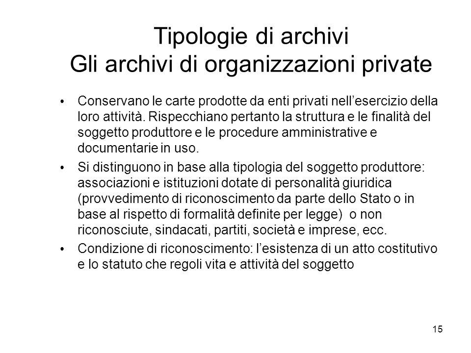15 Tipologie di archivi Gli archivi di organizzazioni private Conservano le carte prodotte da enti privati nellesercizio della loro attività. Rispecch