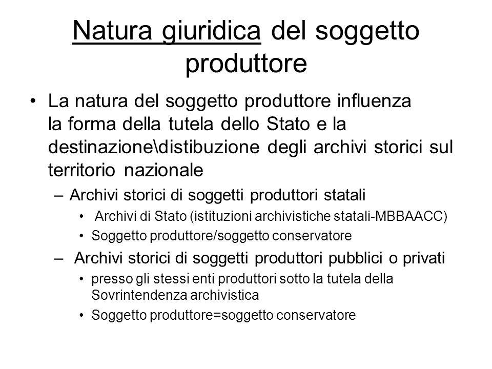 Natura giuridica del soggetto produttore La natura del soggetto produttore influenza la forma della tutela dello Stato e la destinazione\distibuzione