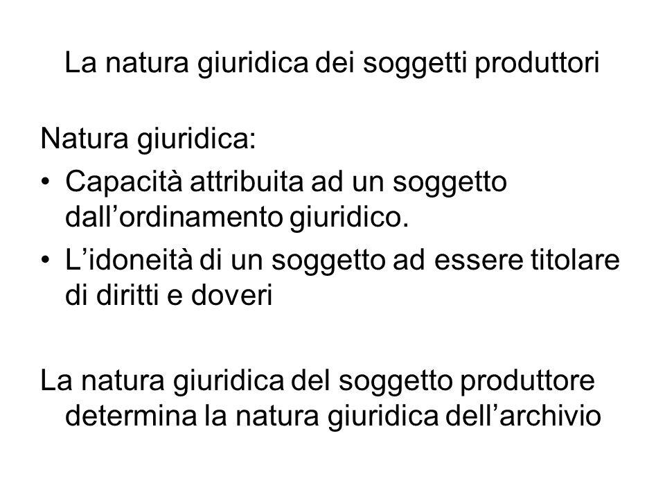 La natura giuridica dei soggetti produttori Natura giuridica: Capacità attribuita ad un soggetto dallordinamento giuridico. Lidoneità di un soggetto a