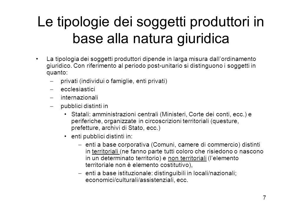 7 Le tipologie dei soggetti produttori in base alla natura giuridica La tipologia dei soggetti produttori dipende in larga misura dallordinamento giur