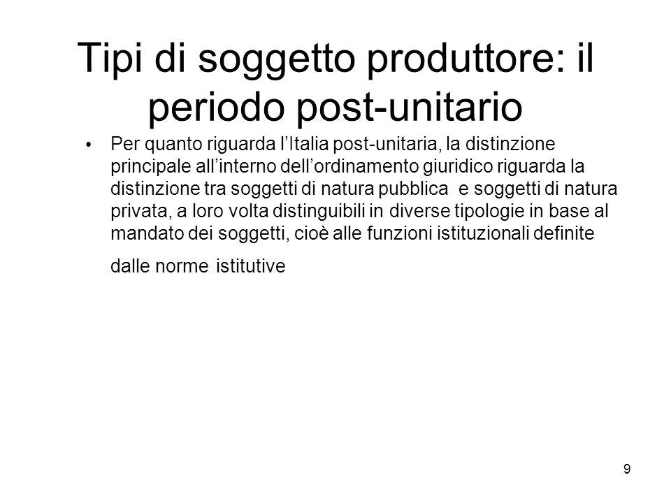 9 Tipi di soggetto produttore: il periodo post-unitario Per quanto riguarda lItalia post-unitaria, la distinzione principale allinterno dellordinament