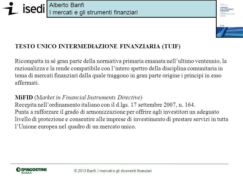 Alberto Banfi I mercati e gli strumenti finanziari © 2013 Banfi, I mercati e gli strumenti finanziari Borsa Italiana ha il potere di ammettere a quotazione i titoli per i quali lemittente abbia presentato domanda, qualora risultino soddisfatte tutte le condizioni previste dal Regolamento.