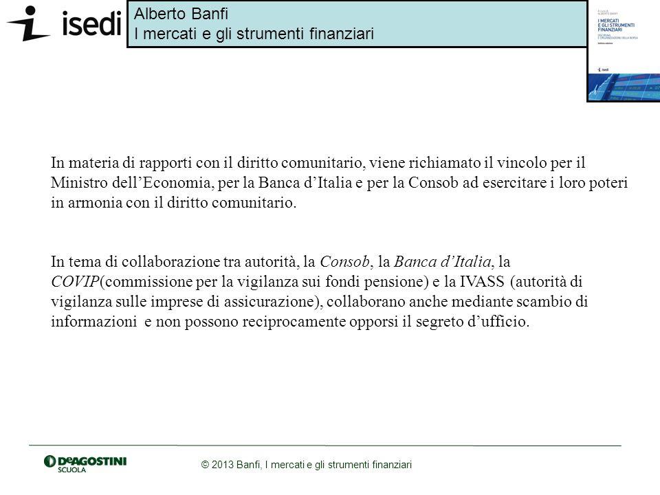 Alberto Banfi I mercati e gli strumenti finanziari © 2013 Banfi, I mercati e gli strumenti finanziari In materia di rapporti con il diritto comunitari
