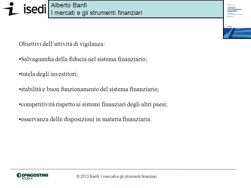 Alberto Banfi I mercati e gli strumenti finanziari © 2013 Banfi, I mercati e gli strumenti finanziari Obiettivi dellattività di vigilanza: Salvaguardi