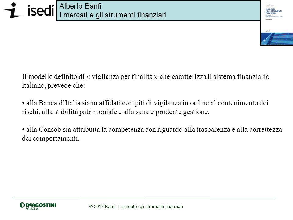 Alberto Banfi I mercati e gli strumenti finanziari © 2013 Banfi, I mercati e gli strumenti finanziari Il modello definito di « vigilanza per finalità