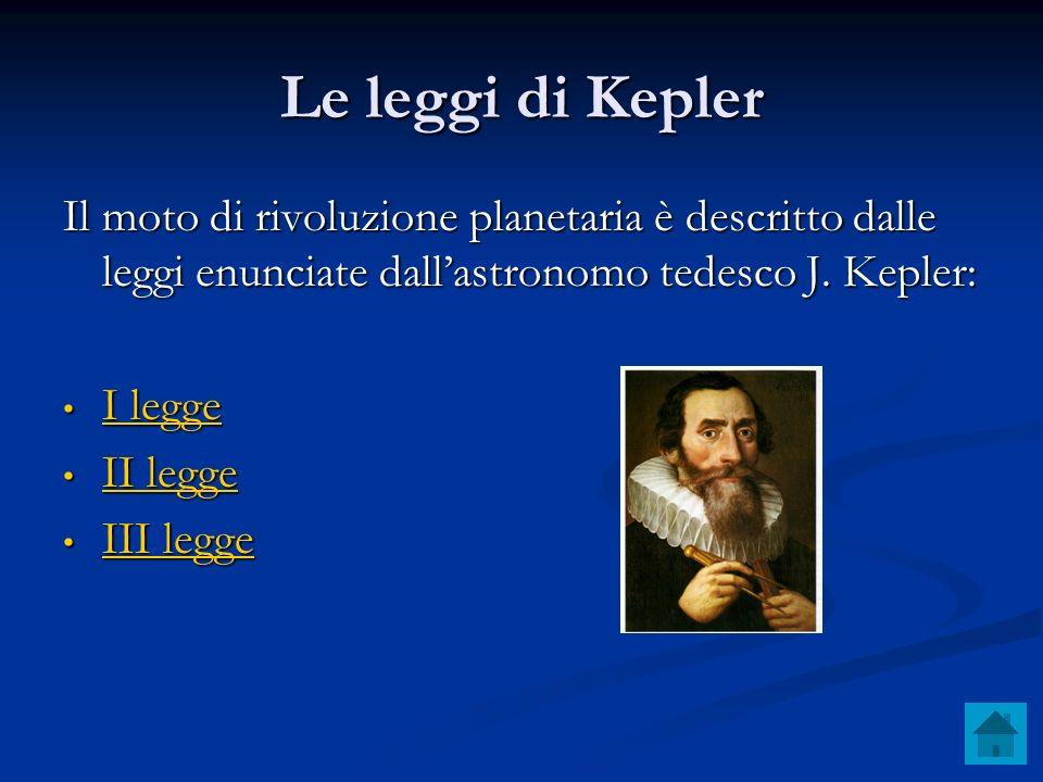 Le leggi di Kepler Il moto di rivoluzione planetaria è descritto dalle leggi enunciate dallastronomo tedesco J. Kepler: I legge I legge I legge I legg