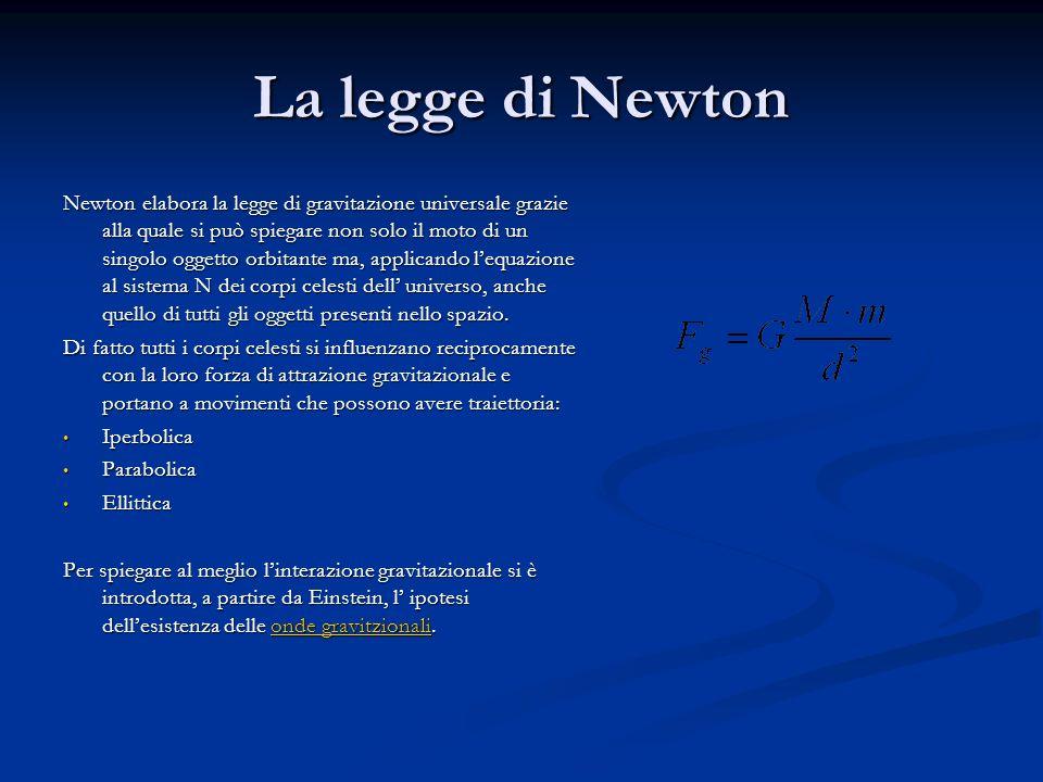 La legge di Newton Newton elabora la legge di gravitazione universale grazie alla quale si può spiegare non solo il moto di un singolo oggetto orbitan