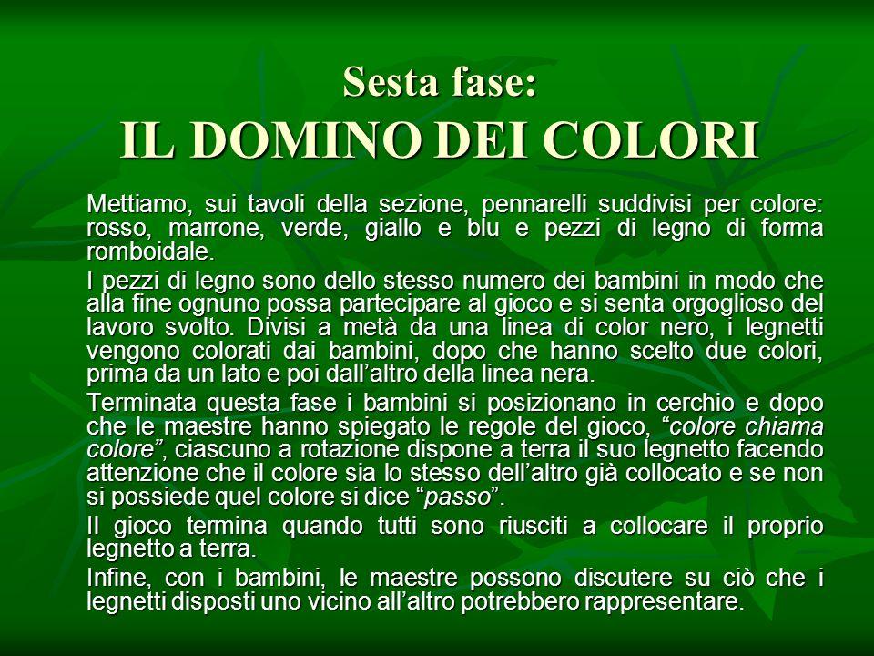 Sesta fase: IL DOMINO DEI COLORI Mettiamo, sui tavoli della sezione, pennarelli suddivisi per colore: rosso, marrone, verde, giallo e blu e pezzi di l