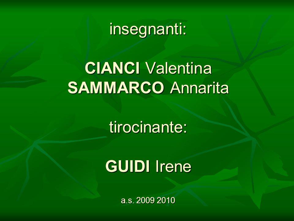 insegnanti: CIANCI Valentina SAMMARCO Annarita tirocinante: GUIDI Irene a.s. 2009 2010