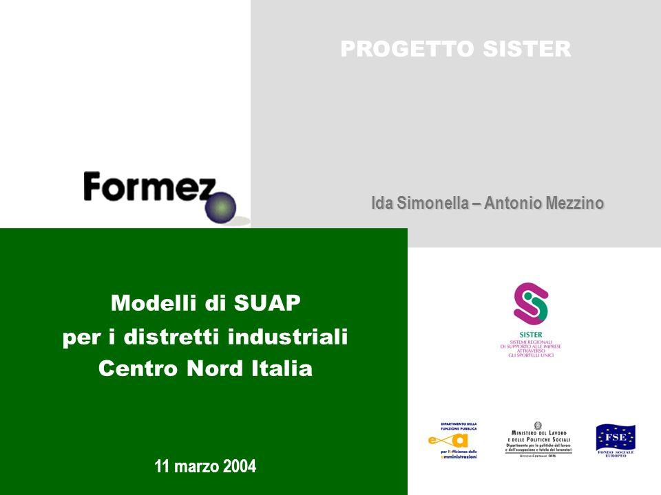 Modelli di SUAP per i distretti industriali Centro Nord Italia PROGETTO SISTER 11 marzo 2004 Ida Simonella – Antonio Mezzino