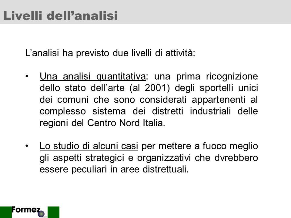 2 Livelli dellanalisi Lanalisi ha previsto due livelli di attività: Una analisi quantitativa: una prima ricognizione dello stato dellarte (al 2001) degli sportelli unici dei comuni che sono considerati appartenenti al complesso sistema dei distretti industriali delle regioni del Centro Nord Italia.
