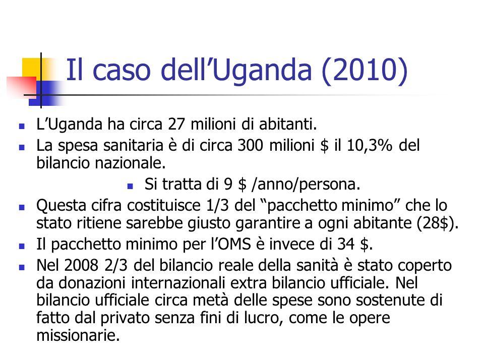 Il caso dellUganda (2010) LUganda ha circa 27 milioni di abitanti. La spesa sanitaria è di circa 300 milioni $ il 10,3% del bilancio nazionale. Si tra