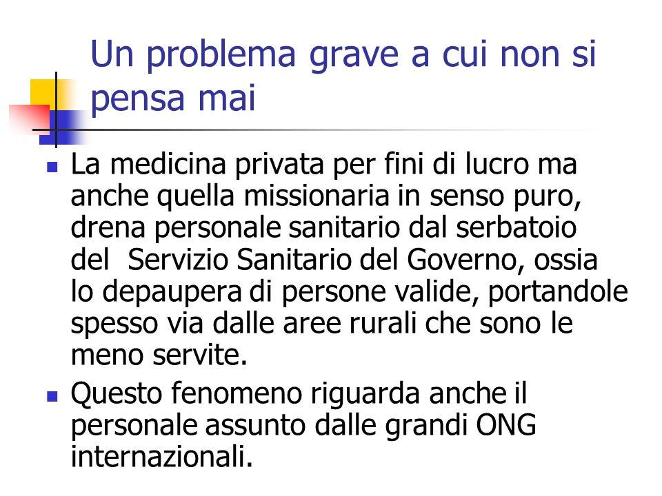 Un problema grave a cui non si pensa mai La medicina privata per fini di lucro ma anche quella missionaria in senso puro, drena personale sanitario da
