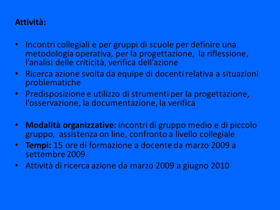Attività: Incontri collegiali e per gruppi di scuole per definire una metodologia operativa, per la progettazione, la riflessione, lanalisi delle crit