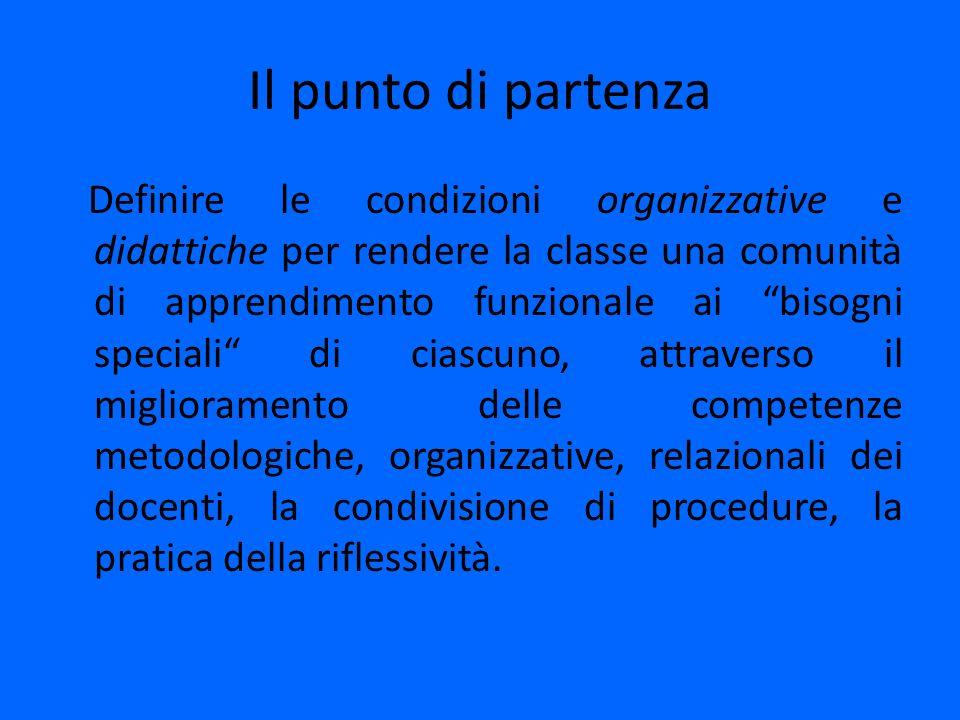 Il punto di partenza Definire le condizioni organizzative e didattiche per rendere la classe una comunità di apprendimento funzionale ai bisogni speci