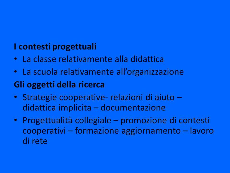 I contesti progettuali La classe relativamente alla didattica La scuola relativamente allorganizzazione Gli oggetti della ricerca Strategie cooperativ
