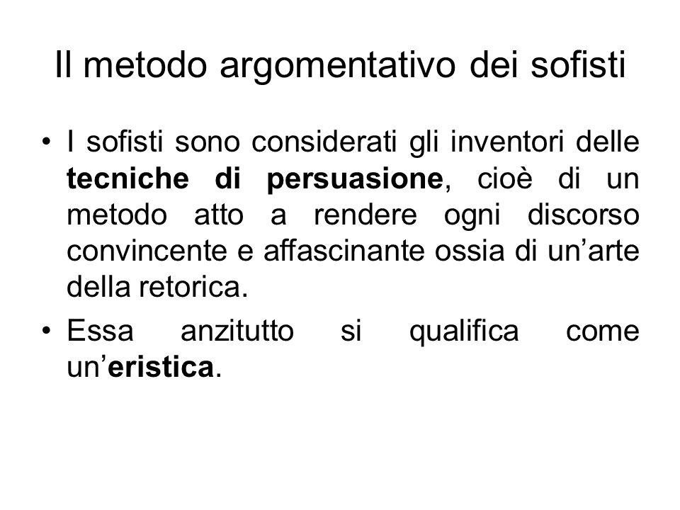 Il metodo argomentativo dei sofisti I sofisti sono considerati gli inventori delle tecniche di persuasione, cioè di un metodo atto a rendere ogni disc