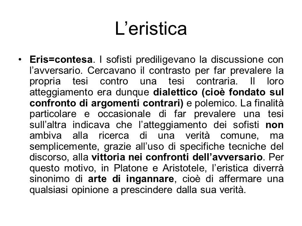 Leristica Eris=contesa. I sofisti prediligevano la discussione con lavversario. Cercavano il contrasto per far prevalere la propria tesi contro una te