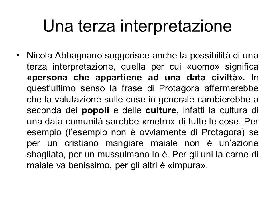 Una terza interpretazione Nicola Abbagnano suggerisce anche la possibilità di una terza interpretazione, quella per cui «uomo» significa «persona che