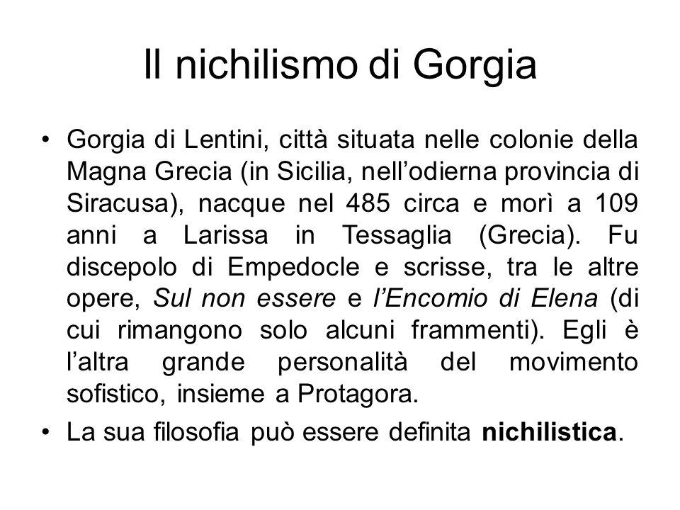 Il nichilismo di Gorgia Gorgia di Lentini, città situata nelle colonie della Magna Grecia (in Sicilia, nellodierna provincia di Siracusa), nacque nel