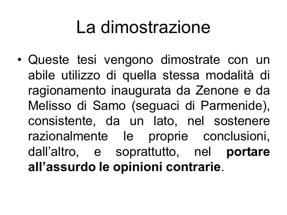 La dimostrazione Queste tesi vengono dimostrate con un abile utilizzo di quella stessa modalità di ragionamento inaugurata da Zenone e da Melisso di S