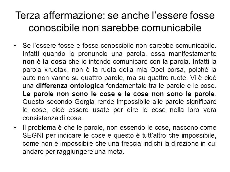 Terza affermazione: se anche lessere fosse conoscibile non sarebbe comunicabile Se lessere fosse e fosse conoscibile non sarebbe comunicabile. Infatti