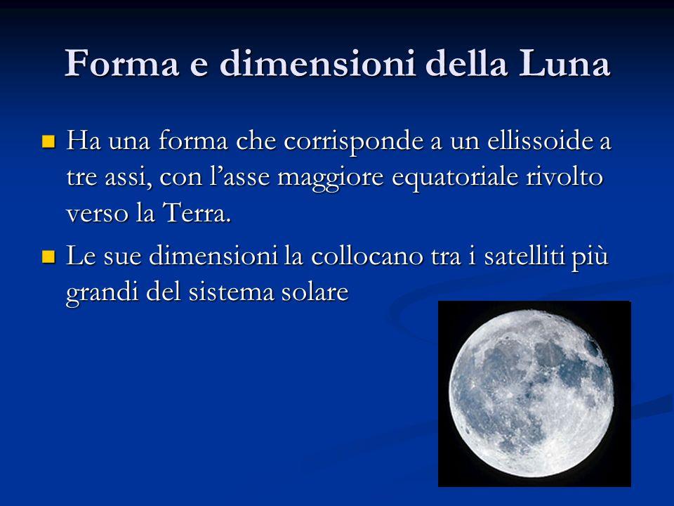 Forma e dimensioni della Luna Ha una forma che corrisponde a un ellissoide a tre assi, con lasse maggiore equatoriale rivolto verso la Terra. Ha una f