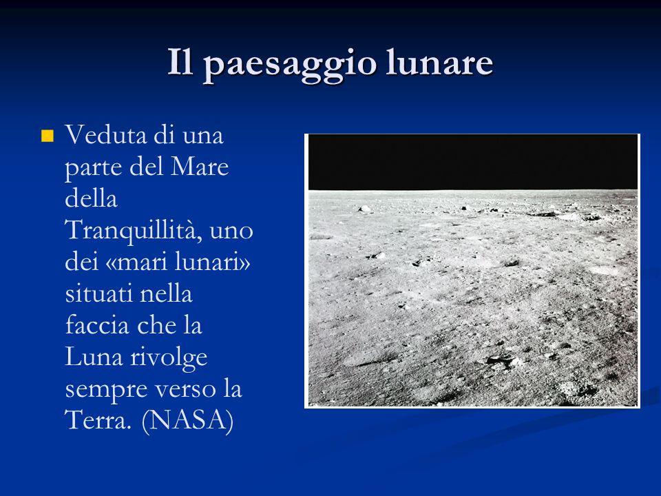 Veduta di una parte del Mare della Tranquillità, uno dei «mari lunari» situati nella faccia che la Luna rivolge sempre verso la Terra. (NASA) Il paesa