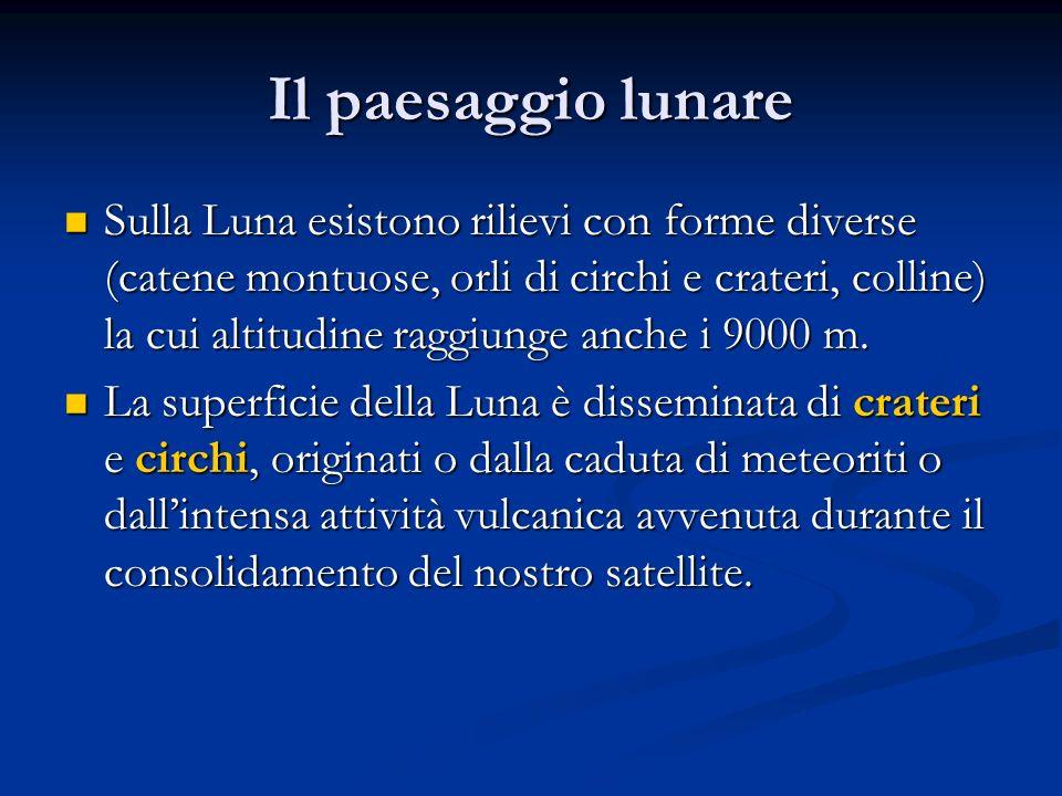 Sulla Luna esistono rilievi con forme diverse (catene montuose, orli di circhi e crateri, colline) la cui altitudine raggiunge anche i 9000 m. Sulla L