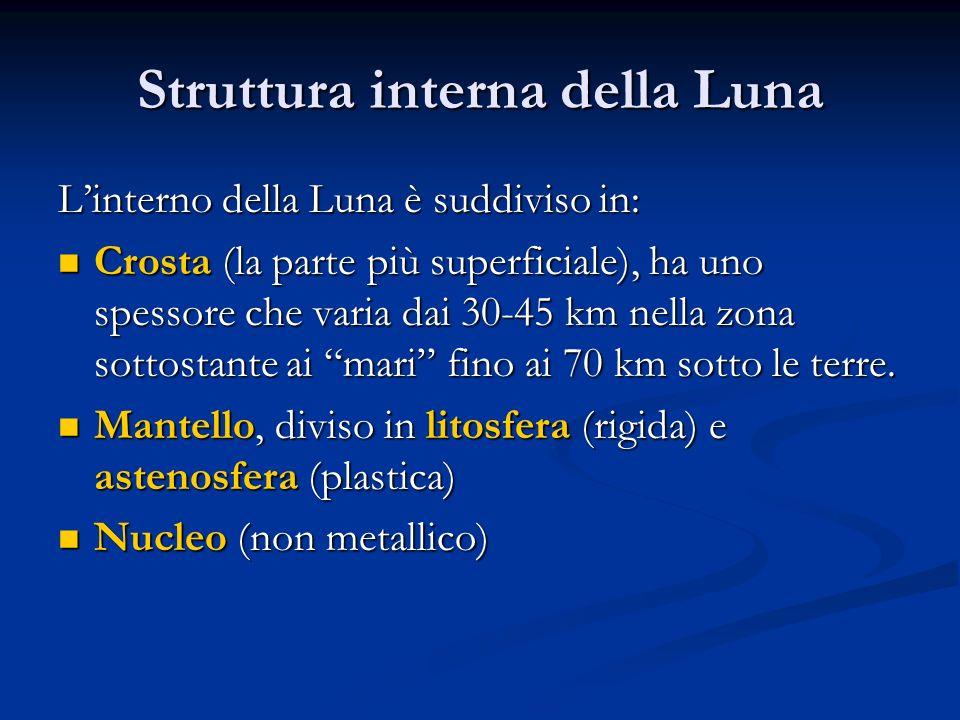 Struttura interna della Luna Linterno della Luna è suddiviso in: Crosta (la parte più superficiale), ha uno spessore che varia dai 30-45 km nella zona