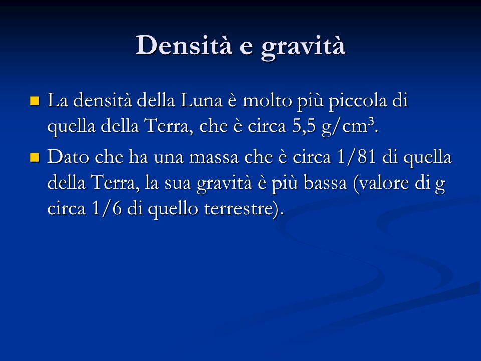 Densità e gravità La densità della Luna è molto più piccola di quella della Terra, che è circa 5,5 g/cm 3. La densità della Luna è molto più piccola d